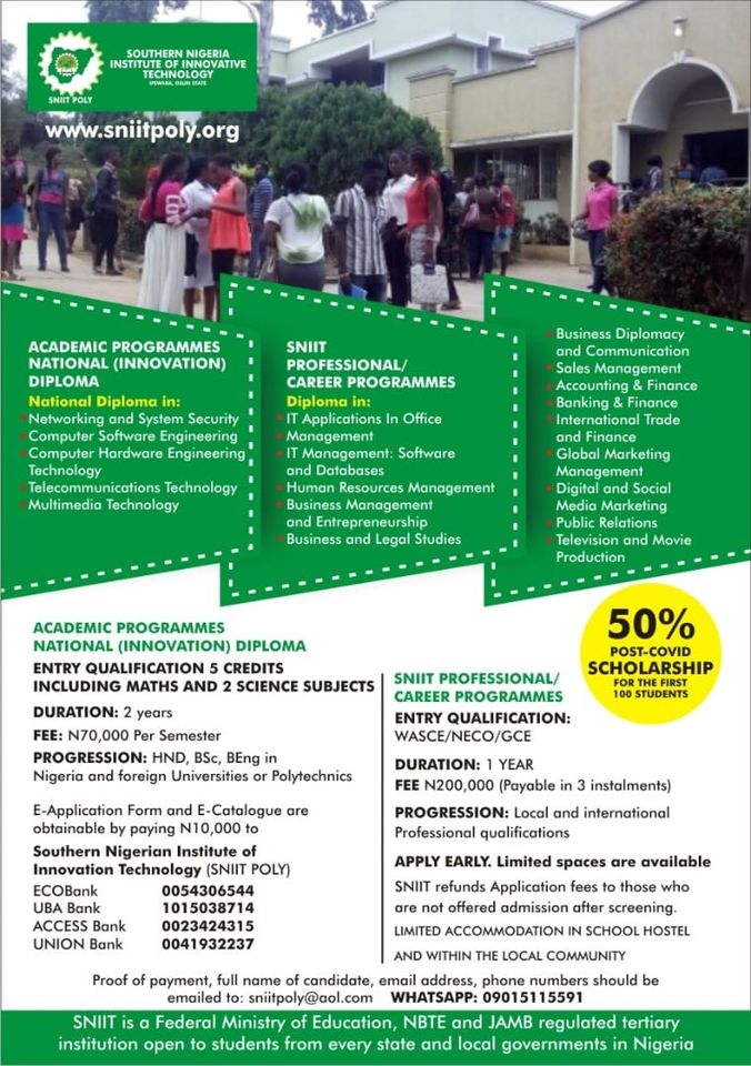 SNIIT POLY Admission Form 2020/2021 | ND & Diploma