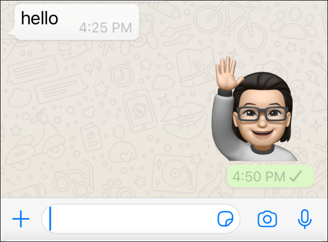 تم إرسال Memoji في WhatsApp