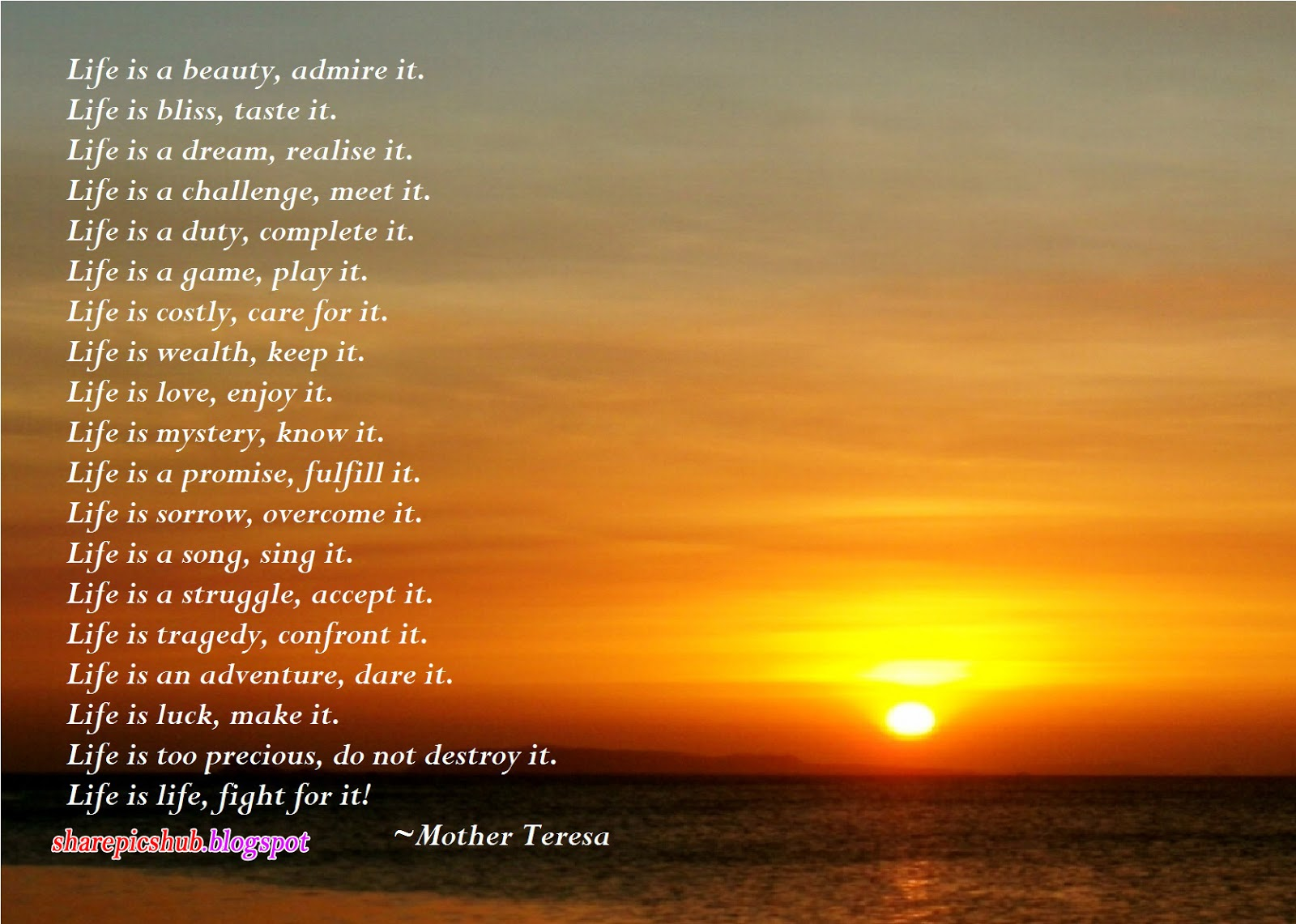 Share Pics Hub Life By Mother Teresa Beautiful Poem In