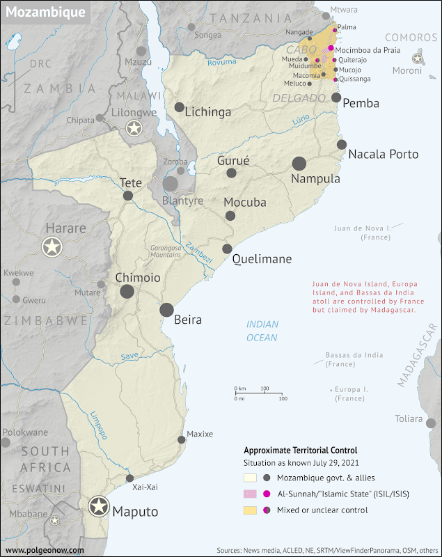 Where is ISIS in Mozambique? Full-country map of insurgent control in northern Mozambique, with territorial control, roads, rivers, and terrain. Includes key locations of the insurgency such as Mocímboa da Praia, Palma, Macomia, Mucojo, Quissanga, Meluco, Muidumbe, Mueda, Quiterajo, and Nangade, as well as other important cities such as Pemba, Nampula, and Maputo. Neighboring countries shown, including Comoros, Madagascar, and French territories of Juan de Nova Island, Bassas da India, and Europa Island. Updated to July 29, 2021. Colorblind accessible.
