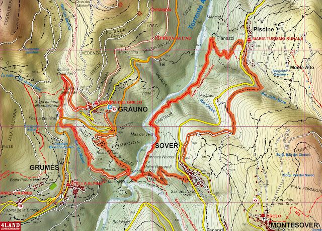 Cartina sentiero vecchi mestieri val di cembra