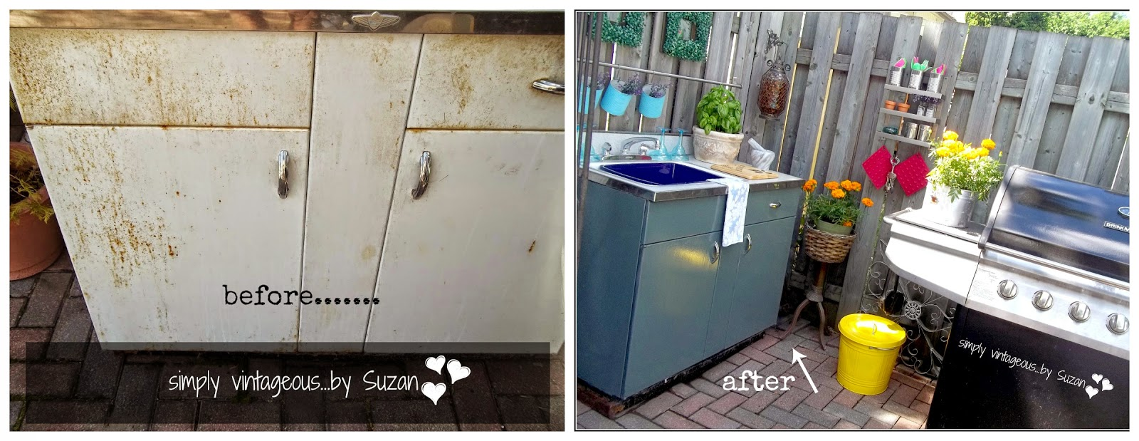Restored steel cabinet for outdoor use