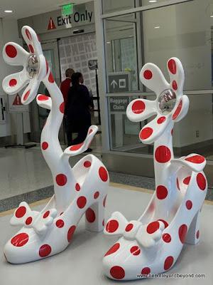 polka dot shoes by Yayoi Kusama, displayed at SFO airport in San Francisco, California