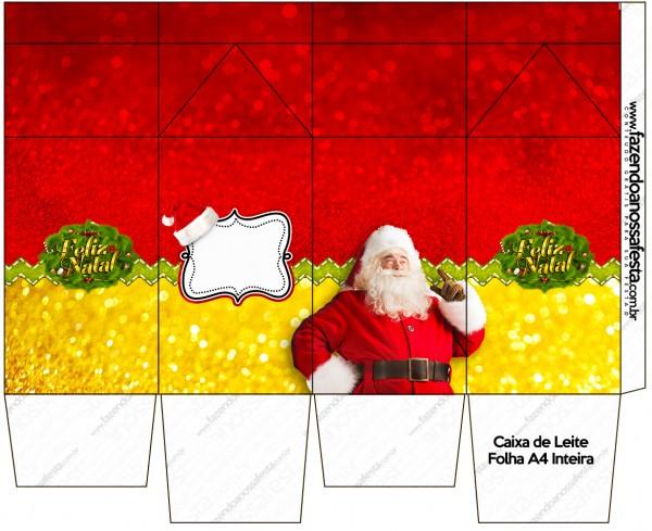 """Caja tipo """"de leche"""" de Santa Claus en Rojo y Dorado."""