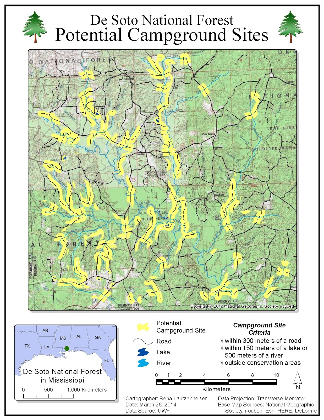 desoto national forest potential campground sites