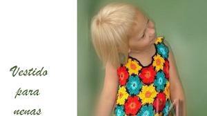 Patrones crochet de vestido colorido para nenas