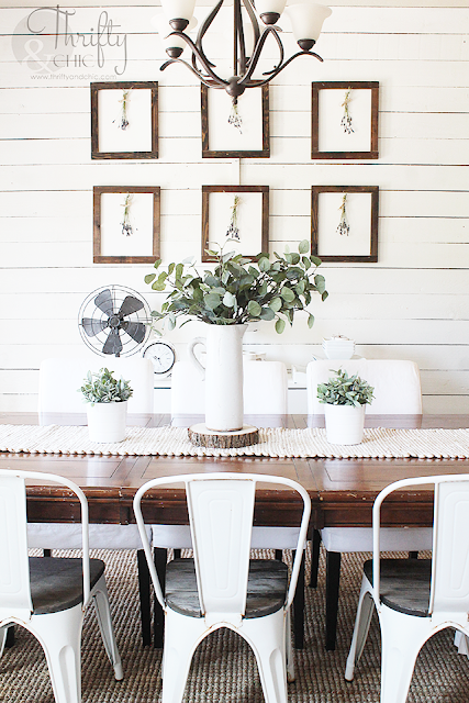 DIY Framed dried lavender gallery wall. DIY botanical prints. Gallery wall ideas with botanical prints. White and rustic farmhouse dining room. Modern farmhouse dining room decor and ideas