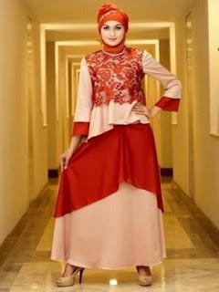 Model Long Dress Batik Kombinasi Remaja