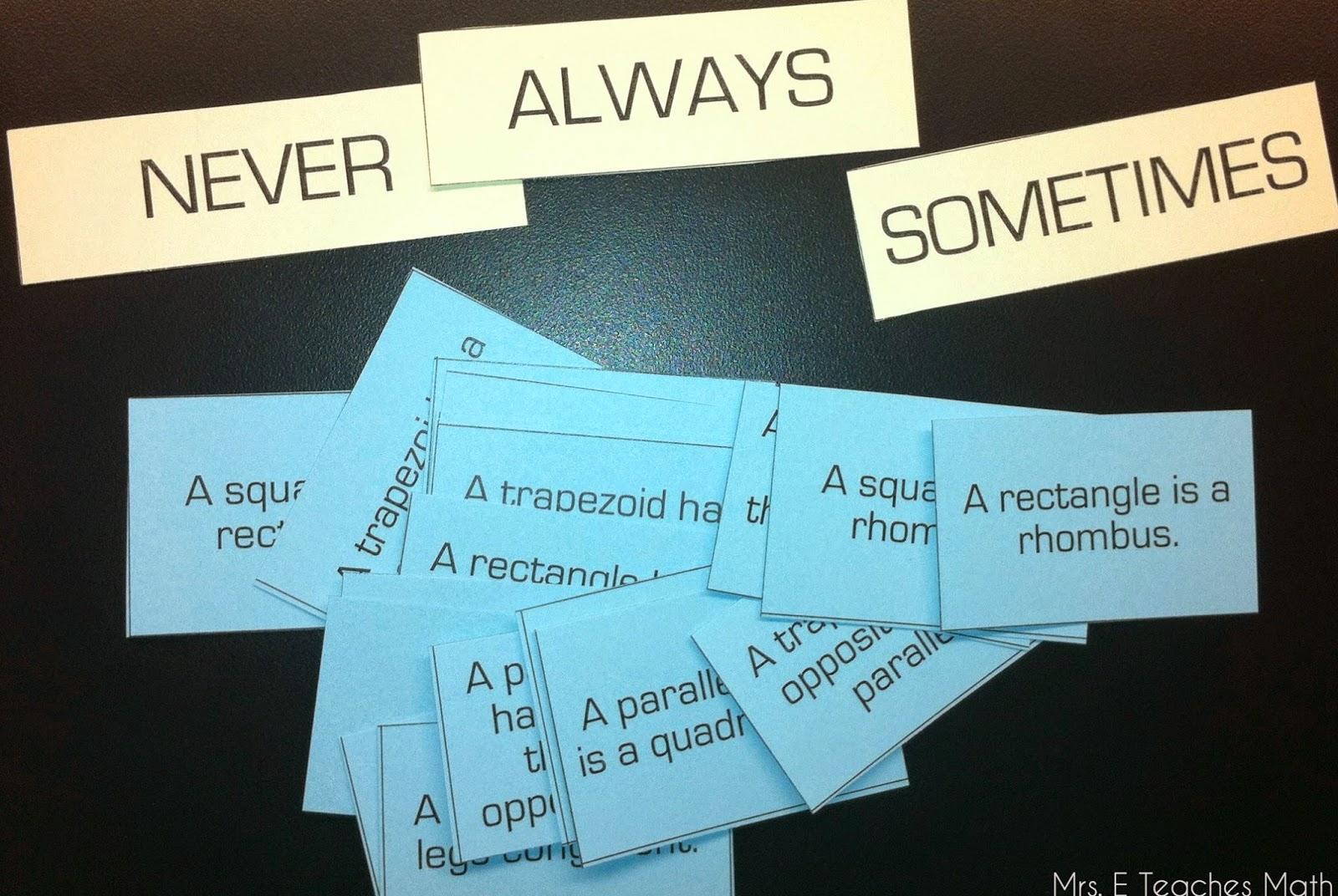 Special Quadrilaterals Always, Sometimes, Never - Using a card sort  |  mrseteachesmath.blogspot.com