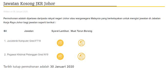Jawatan Kosong Terkini di Jabatan Kerja Raya Malaysia (JKR)
