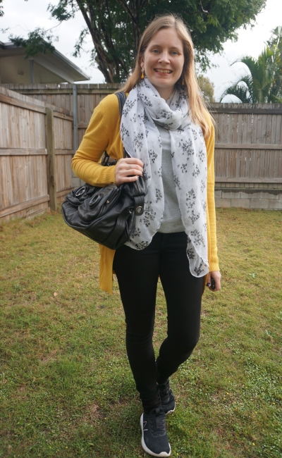 mustaard cardigan with mimco button bag floral scarf monochrome grey tee skinny jeans outfit | awayfromblue