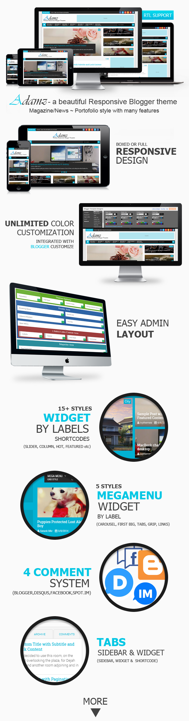 Adamz Blogger Template Features