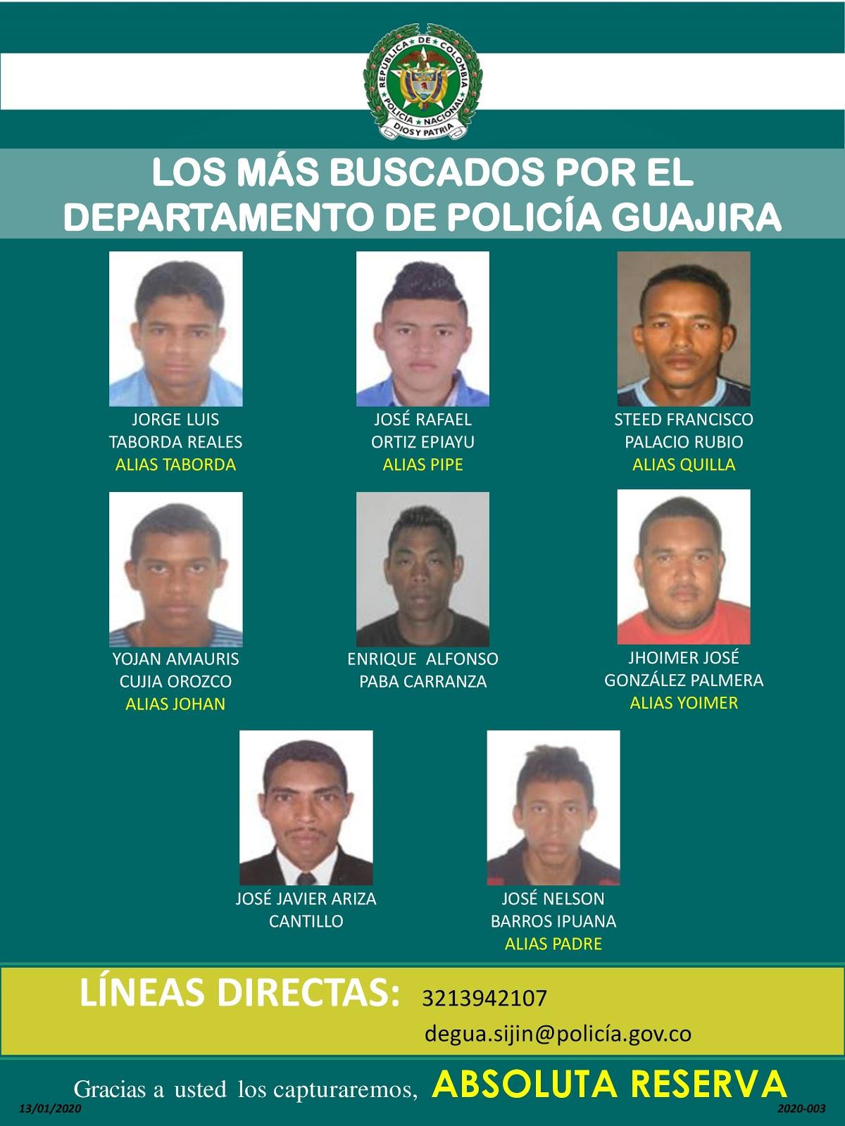Estos son los más buscados en La Guajira