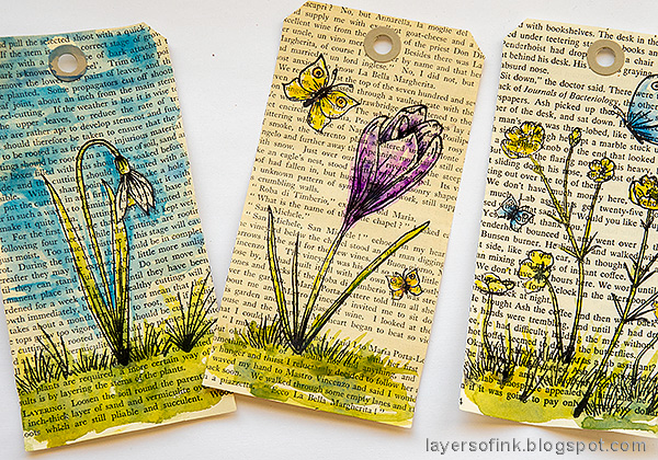 Layers of ink - Watercolor Flowers on Book Paper Tutorial by Anna-Karin Evaldsson. Paint with watercolors.