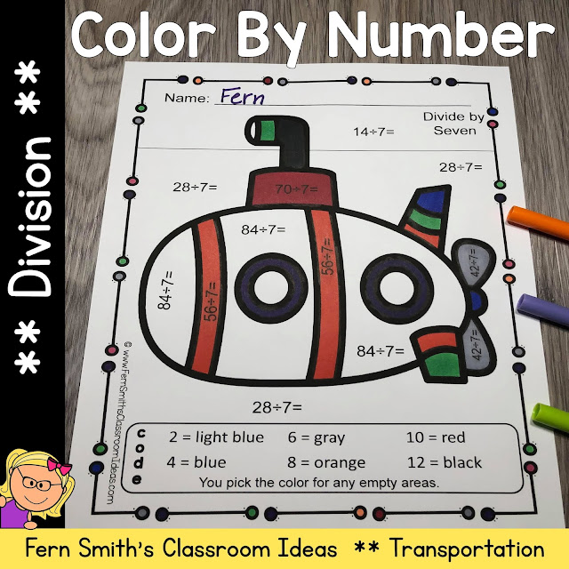 Color By Number Division Transportation with Free Bonus Transportation Coloring Pages