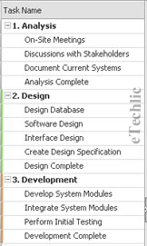 Project task list in projectplan.com