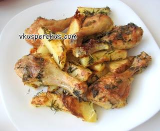 курица с картофелем в укропе