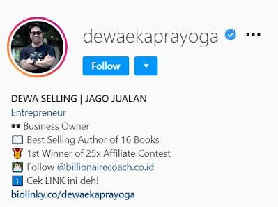 contoh profil bio Instagram