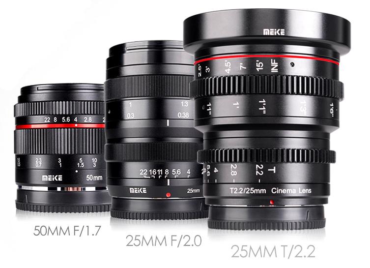 Объективы Meike: 50mm f/1.7, 25mm f/2.0 и 25mm T2.2 Cine