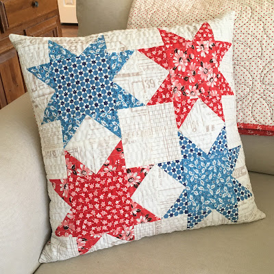 patriotic quilted star pillow