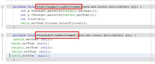 script untuk mengosongkan form di java netbeans dalam penggajian program karyawan di java