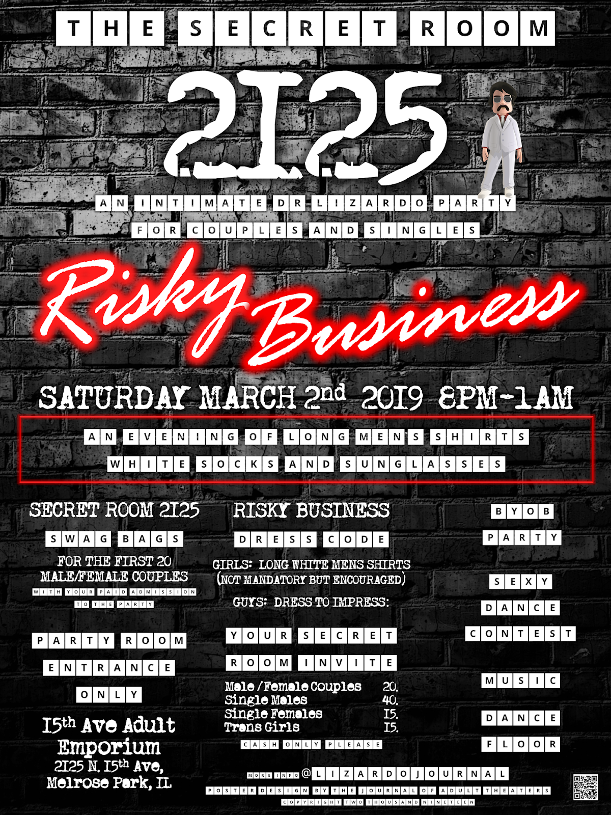Secret Room 2125: Risky Business Party at 15th Ave.Adult Theater Party Room in Chicago...