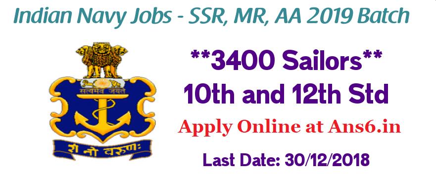 Indian Navy Recruitment for 3400 Sailors