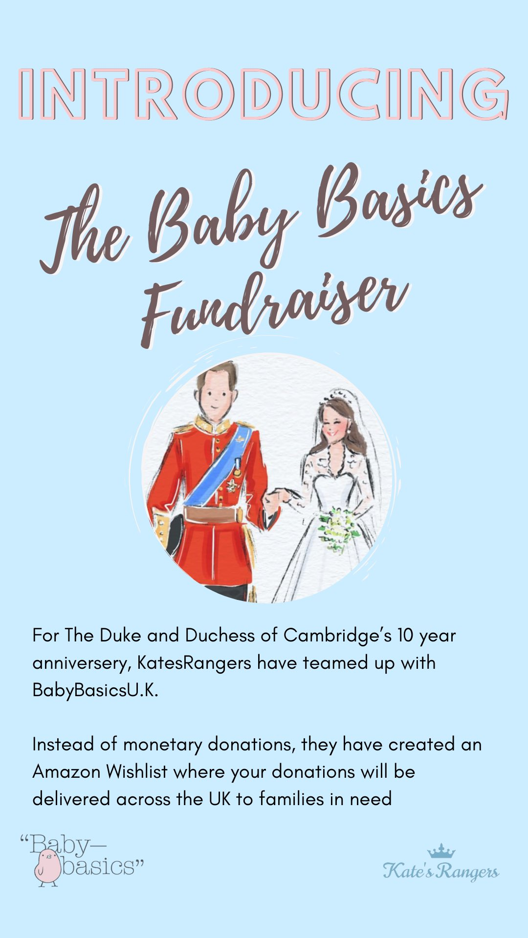 The Baby Basics Fundraiser organised by Kate's Rangers on Twitter and Instagram