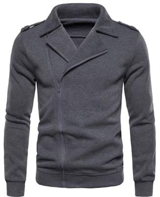 Solid Color Zipper Up Casual Jacket