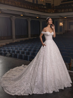 Strapless Off the shoulder Ball Gown Sequin Bridal Dress