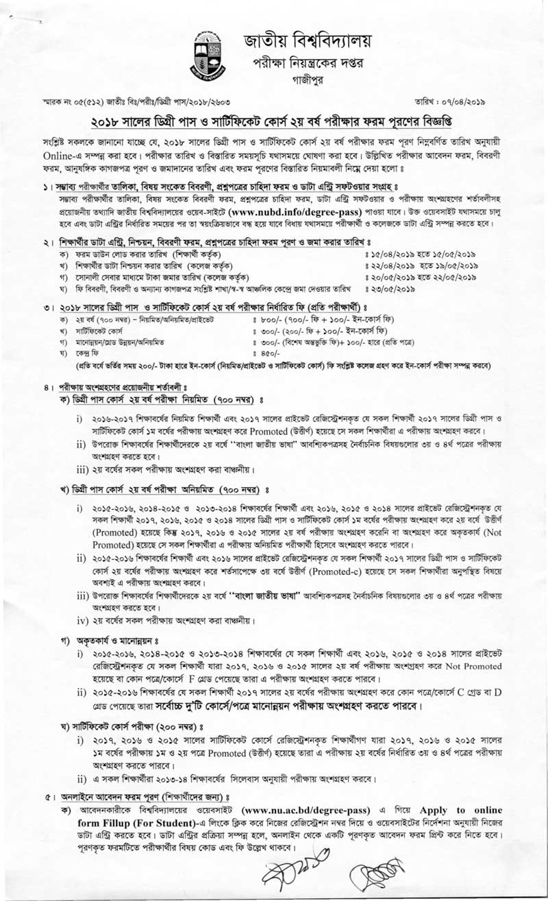 Degree 2nd year exam form fill up notice 2019