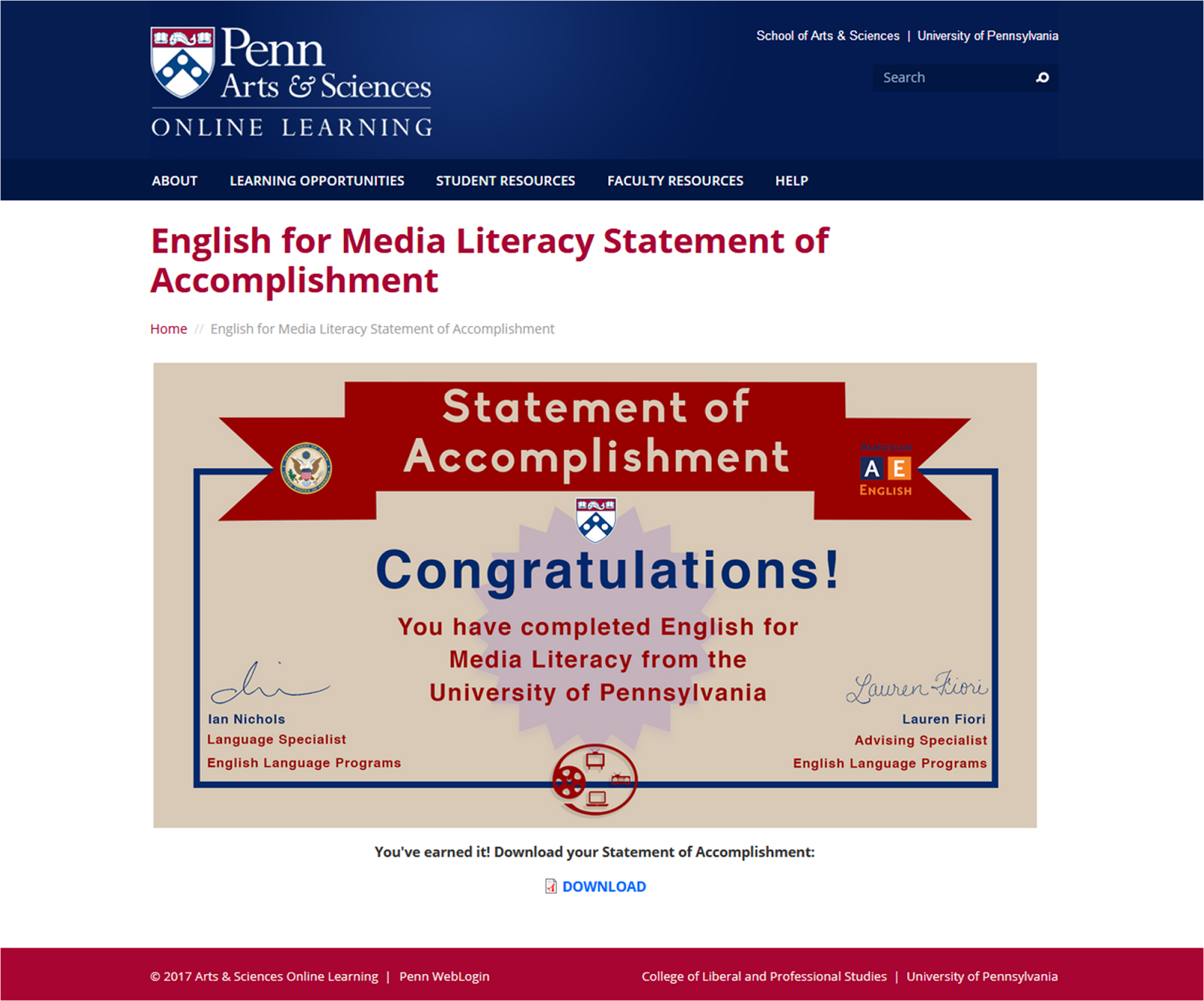 English for Media Literacy Statement of Accomplishment