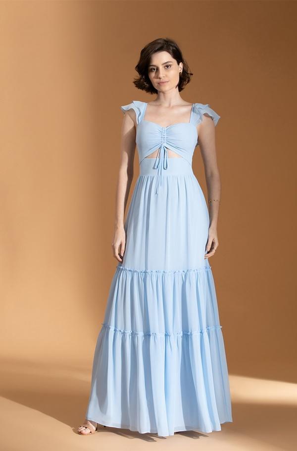 vestido longo azul serenity para madrinha de casamento dia