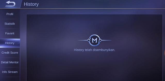 Cara menyembunyikan history pertandingan mobile legend terbaru