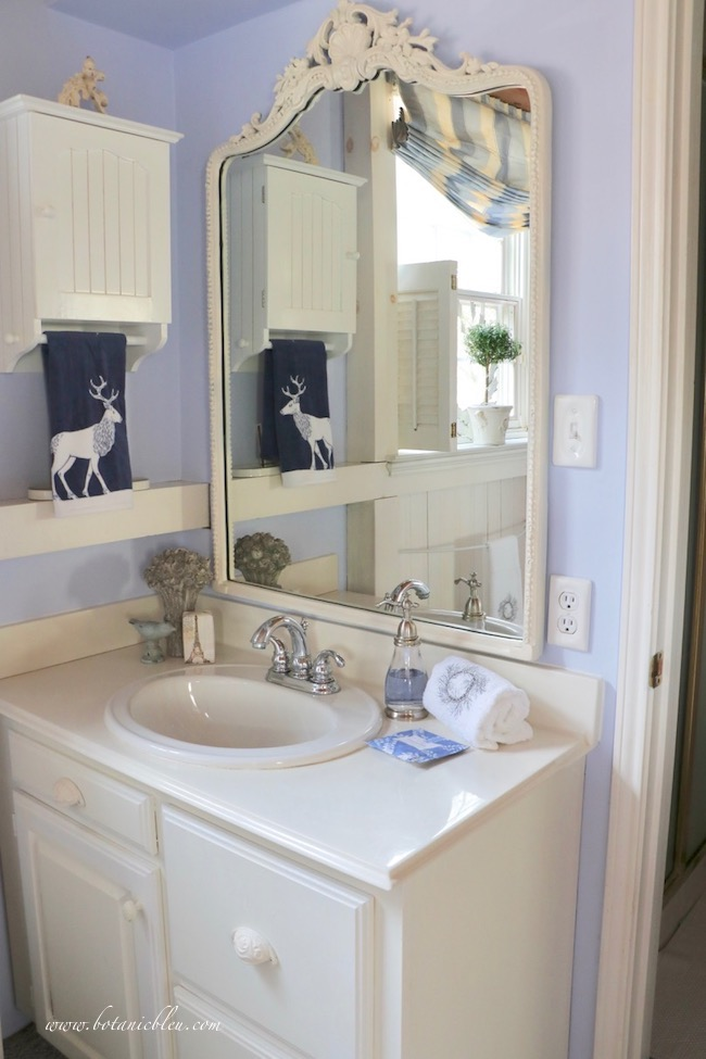 Winter blue and white bathroom French country style white mirror
