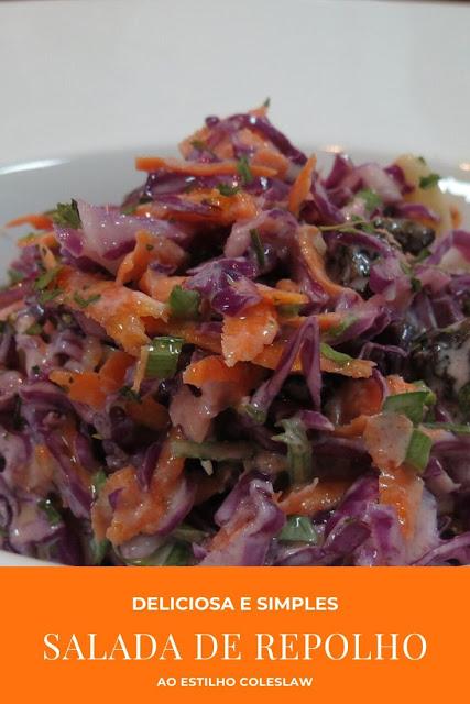 salada de repolho ao estilo coleslaw, salada de repolho com uva passa