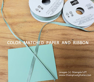 "Stampin Up Mint Macaron 1/4"" Textile Ribbon and 1/8"" Sheer Linen Ribbon"
