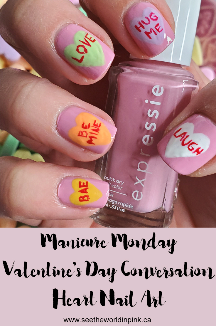 Manicure Monday - Conversation Heart Nails and Essie Expressie Nail Polish