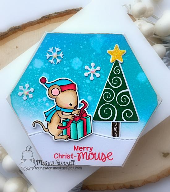 Holiday Gift Box by Maria Russell | Naughty or Mice Stamp Set, Festive Forest Stamp Set, and Land Borders Die Set by Newton's Nook Designs #newtonsnook #handmade