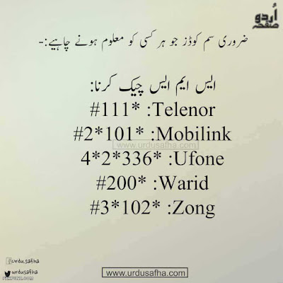check remining sms Mobilink Ufone Warid Telenor & Zong