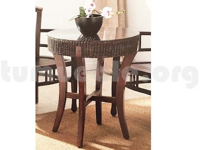 mesa auxiliar hecho en rattan natural j881