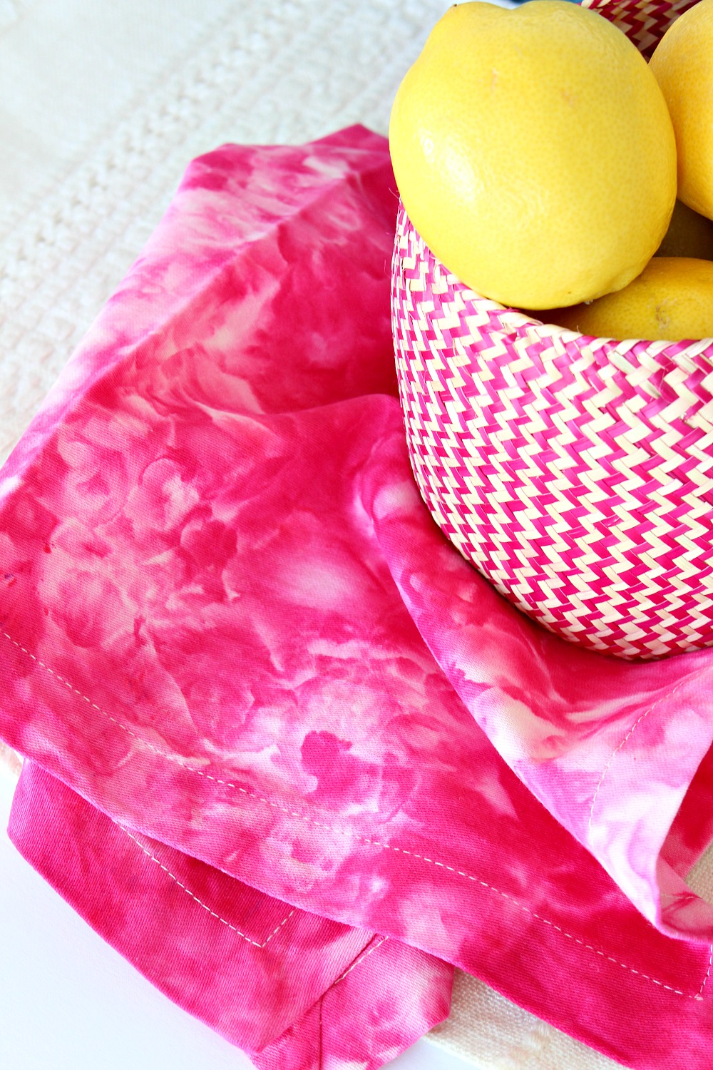 Fuschia Ice Dyed Napkin and Basket of Lemons