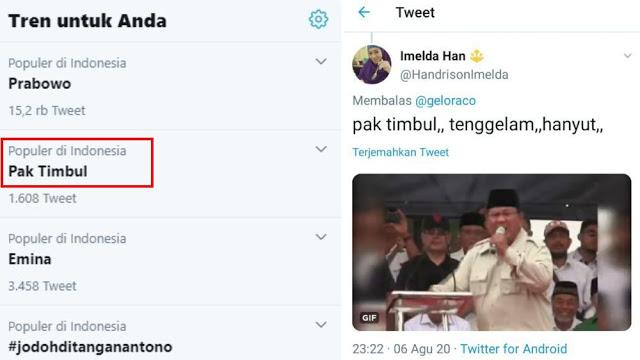 """Pak Timbul"" Jadi Trending Topik Twitter, Ternyata Julukan Untuk Pak Prabowo"