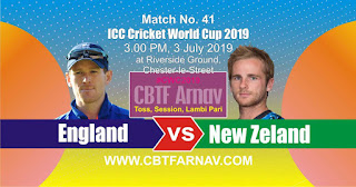 41st Match New Zeland vs England World Cup 2019 Today Match Prediction