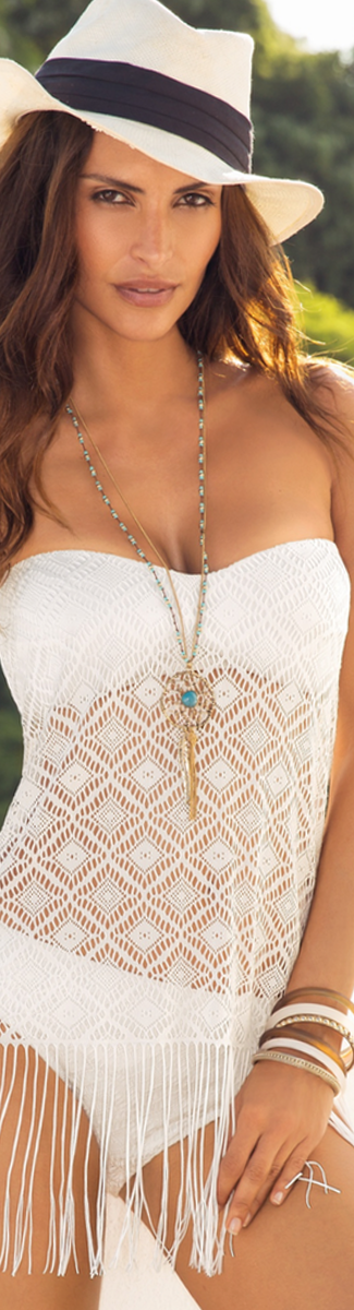 Boston Proper Crochet Fringe Tankini