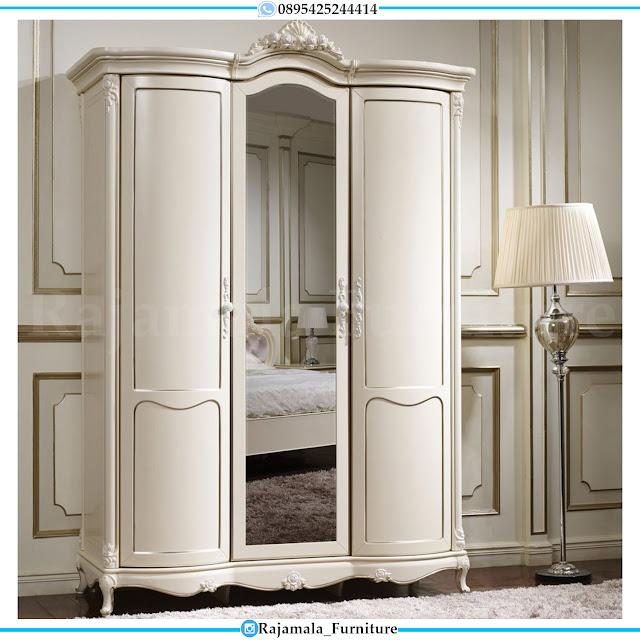 Lemari Pakaian 3 Pintu Mewah Putih Duco Luxury Crown Carving RM-0307