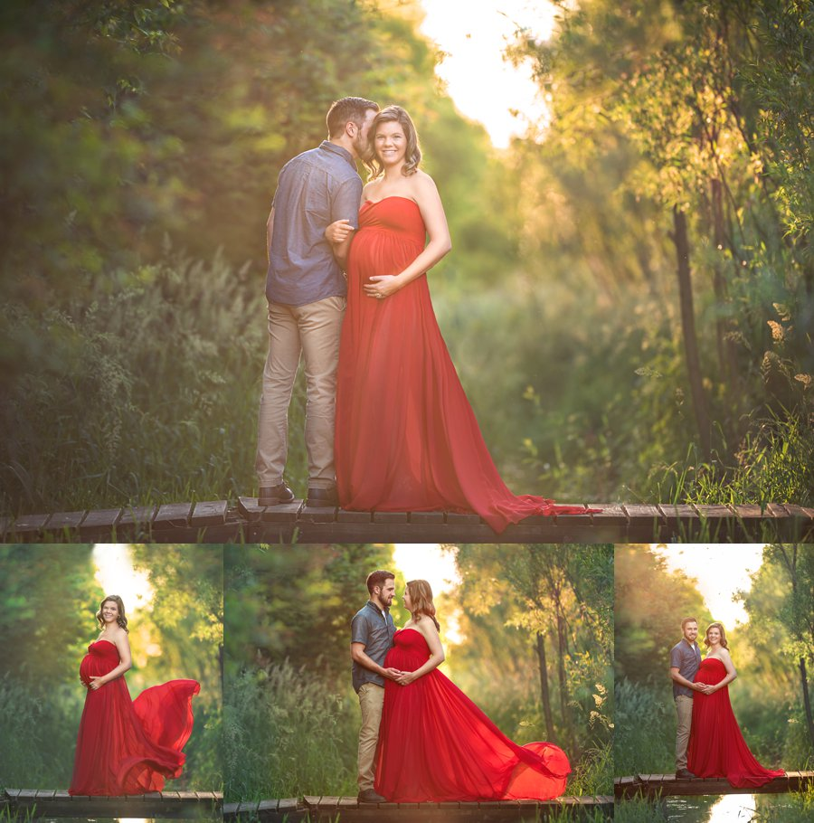 Outdoor summer Maternity photo session with Lavender and red pregnancy dress