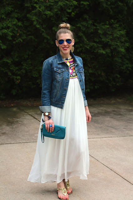 embroidered white maxi dress, denim jacket, gold sandals