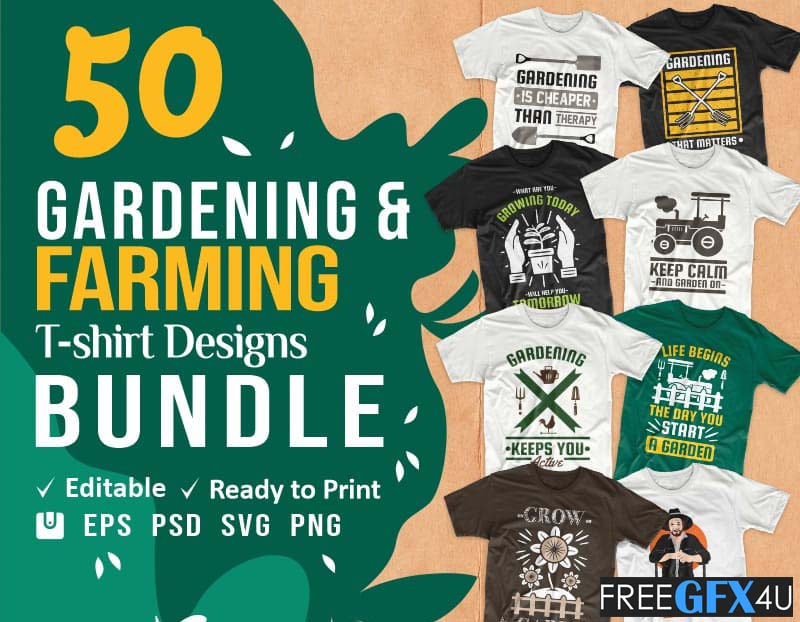 Gardening T Shirt Vector & PSD Design Bundle