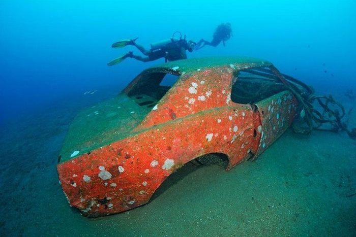 Arrecife artificial en el oceano
